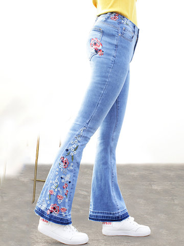Floral Embroidered High Waist Denim Flared Pants