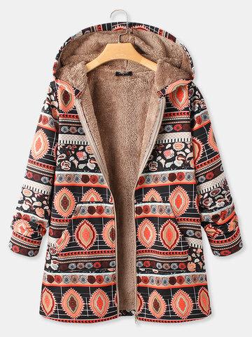 Cappotto a maniche lunghe con cappuccio frontale con cerniera stampa vintage