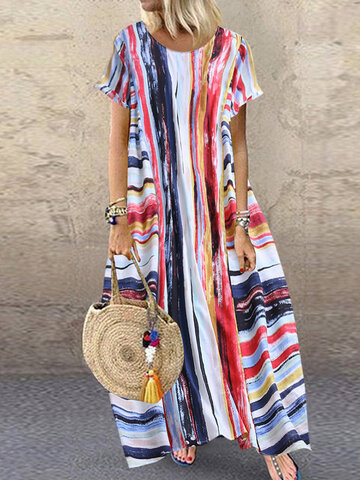 Bohemian Multi Color Striped Dress