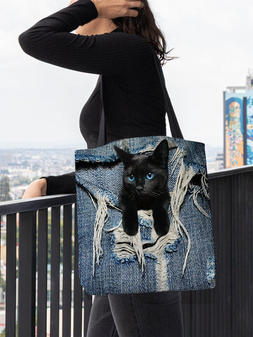 Felt Large Capacity Cat Handbag Shoulder Bag Tote