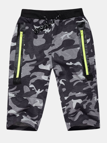 Camouflage Knee Length Running Shorts, Army green gray light gray