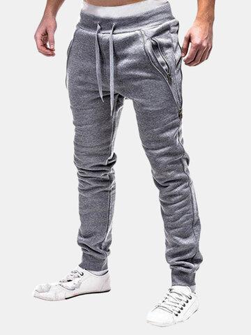 Cintura elástica dupla Zipper Sport Calças