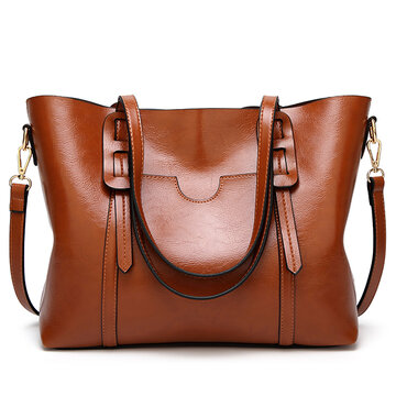 Women Retro Oil-wax PU Leather Handbags