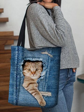 Borsa a mano in stile casual con gatto sveglio del fumetto creativo animale