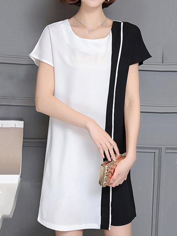 Casual O Neck Batwing Sleeves Black and White Dresses