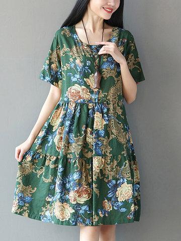 [{}} Vintage Floral Printed Kurzarm Hohe Taille Frauen Kleider