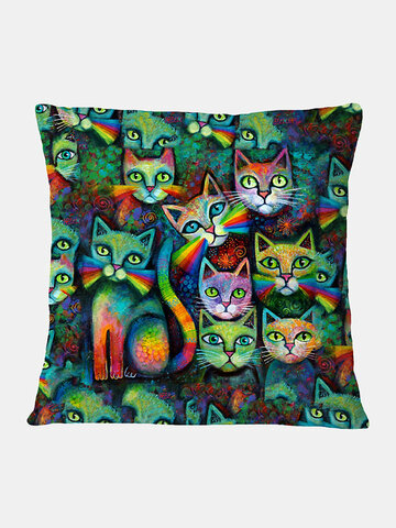 Colorful Cats Pattern Linen Cushion Cover Home Sofa Art Decor Throw Pillowcase