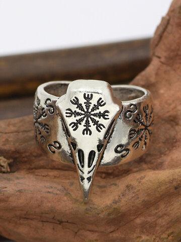 Carved Crow Skull Rings
