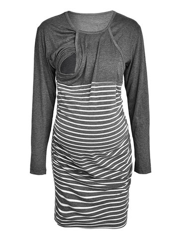 Front Open Maternity Striped Dress, Gray