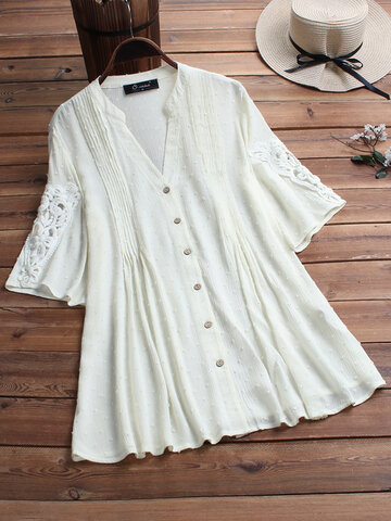 Pleated Lace Patchwork Blouse
