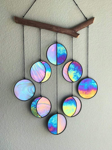 1 PC Wall Decoration Wooden Stained Glass Vision Rainbow Hanging Pendant Moon Shape Art Craft Indoor Home Ornament