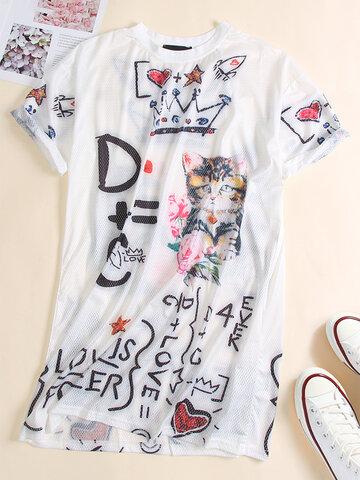 Cartoon Cat Letters Print T-shirt