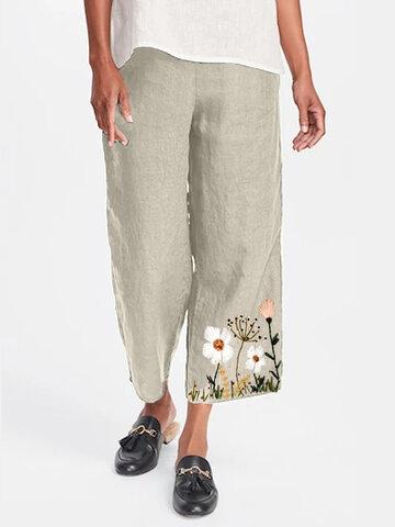 Ricamo floreale casual Pantaloni