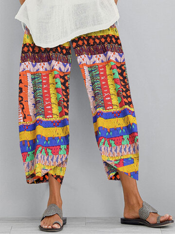 Vintage Print Patchwork Loose Pants