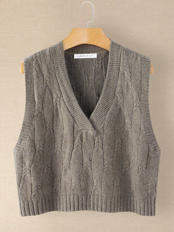 Solid Color V-neck Sleeveless Sweater