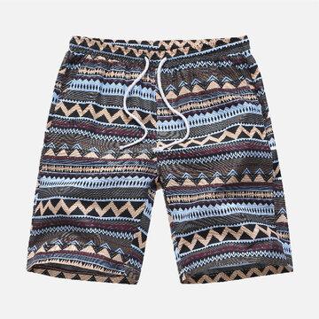 Pantaloncini dritti da stampa stile etnico da uomo