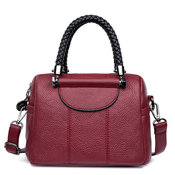 Women Stitching Boston Handbag Faux Leather Crossbody Bag
