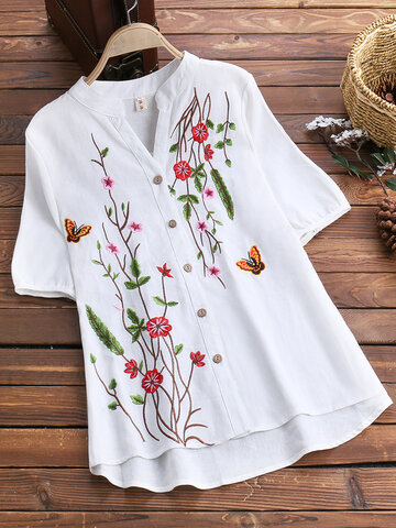 Floral Embroidered Vintage Blouses
