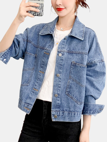 Print Lapel Short Denim Jackets