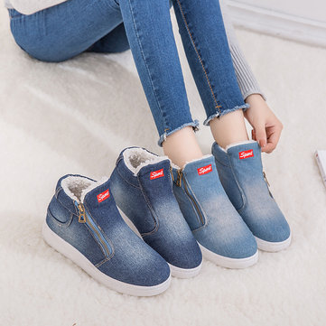 Denim Cloth Plush Lined Zipper Boots