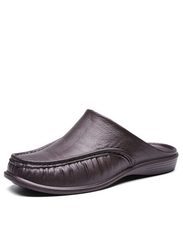 Men PU Leather Casual Backless Slippers