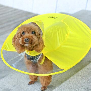 2 cores Pet Dog UFO forma capa de chuva impermeável