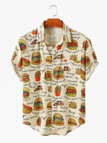 Cartoon Hamburger Printed Shirt