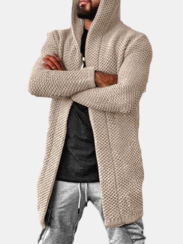 Solid Color Knitted Hooded Cardigan
