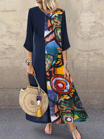 Print Patchwok Long Sleeve Dress