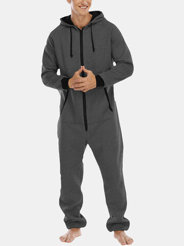 Cotton Loose Lounge Zipper Hooded Jumpsuit