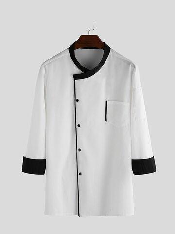 Solid Color Irregular Tailor Long Sleeve Shirts