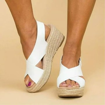 Large Size Hook Loop Casual Espadrilles Sandals