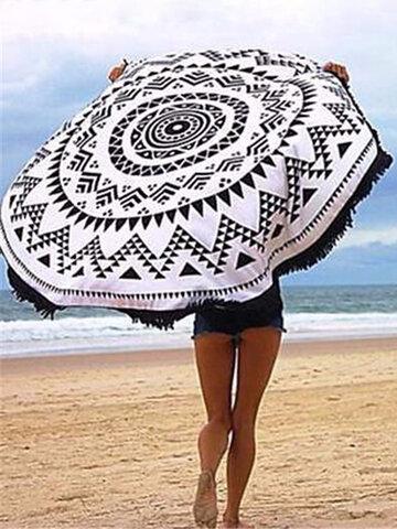 Round Geometry Pattern Tassel Beach Towel Shawl Yoga Mat Wall Hanging Decor