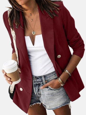 Solid Color Breasted Blazer