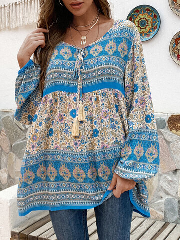 Bohenmia Print Pleated Long Sleeve Blouse