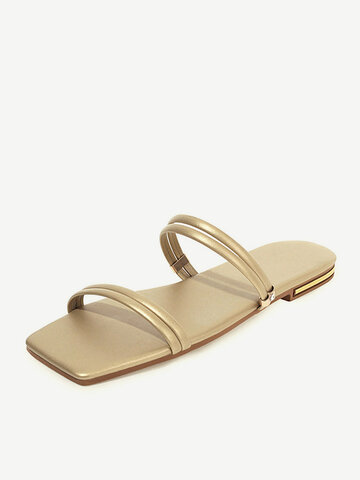 Brief Double Band Flat Stripe Slippers