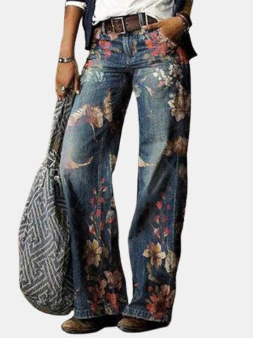 Floral Print Vintage Loose Pants