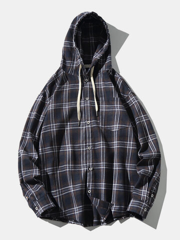 Plaid Cotton Flannel Hooded Shirts