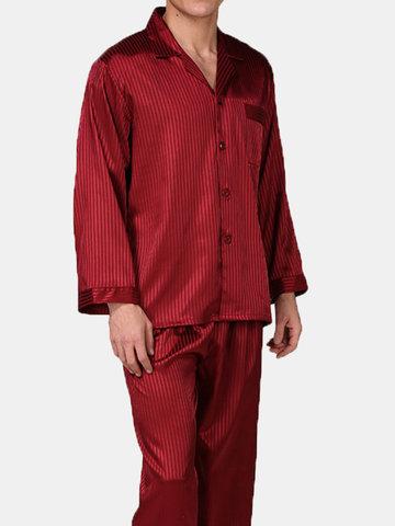 Stripes Printing Silk-gemusterter Pyjama