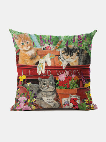 Cats And Dogs Pattern Linen Cushion Cover Home Sofa Art Decor Throw Pillowcase