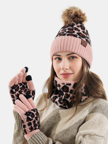 Women 3PCS Wool Leopard Pattern Screen-touchable Knitted Gloves Scarf Knitted Hat