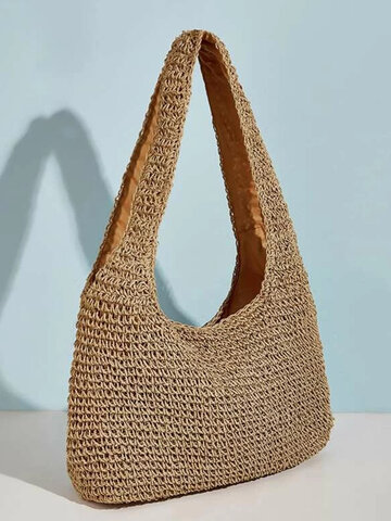 Women Solid Casual Straw Large Capacity Tote Bag