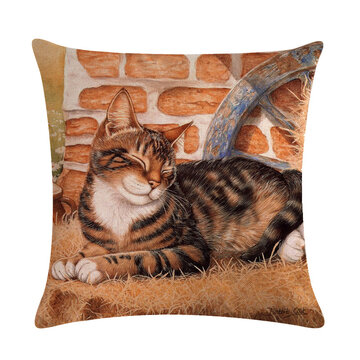 Cute Cat Printing Linen Cushion Cover Colorful Cats Pattern Decorative Throw Pillow Case For Sofa Pillowcase