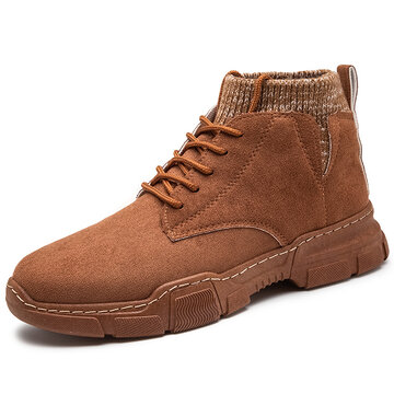 Men Synthetic Suede Work Style Sock Boots