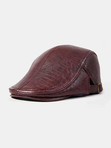 Chapeau de béret solide décontracté rétro en cuir véritable pour hommes