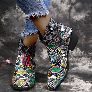 LOSTISY Snakeskin Stitching Ankle Boots