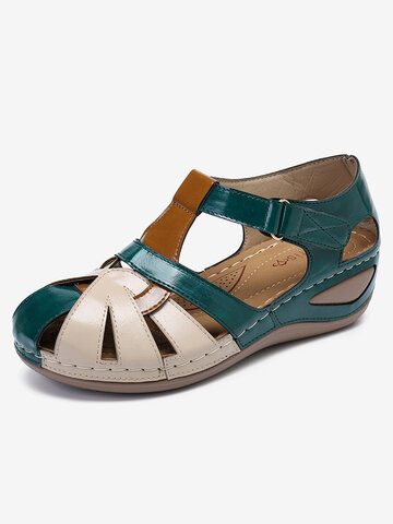 Color Block Comfy Wearable Wedges Sandals
