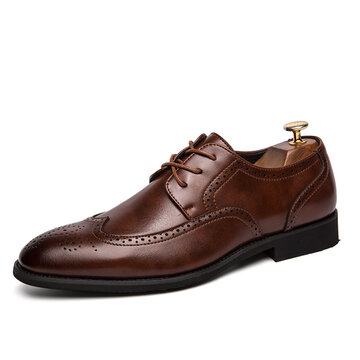 Men Brogue Carved Lace Up Oxfords
