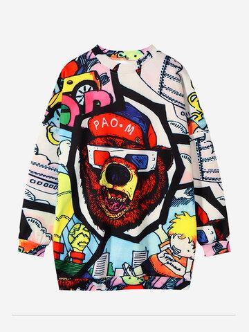 Print Multicolor Beer Crew Neck Sweatshirt