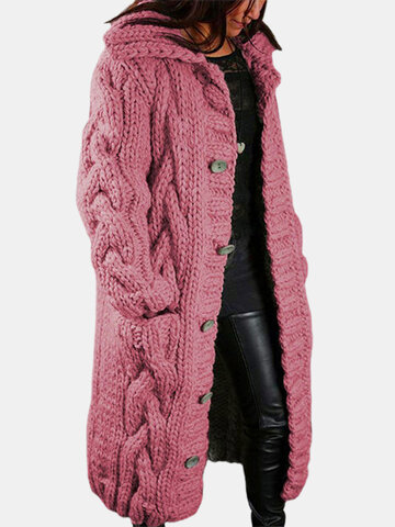 Solid Color Knitted Button Hooded Cardigan
